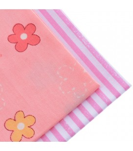 Lote de 2 telas coordinadas con motivos de flores y rayas