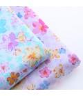 Lote de 2 telas estampadas con motivos de flores rosas y azul