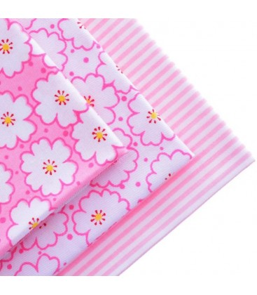Lote de 3 telas estamapadas con motivos de flores rosas