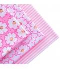 Lote de 3 telas estampadas con motivos de flores rosas
