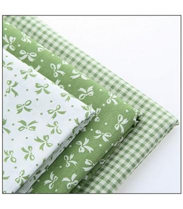 Lote de 3 telas estampadas con motivos de lazos verdes