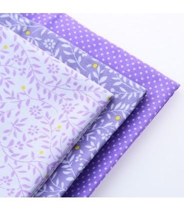 Lote de 3 telas estampadas en color lila  - Manualidades - Costura