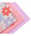 Lote de 3 telas estampadas florales y rayas - Manualidades - Costura
