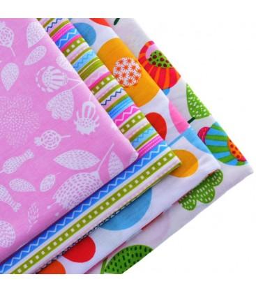 Lote de 4 telas estampadas florales  y rayas - Manualidades - Costura