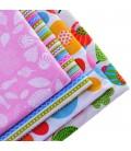 Set de 4 telas estampadas florales  y rayas - Costura - Serie 1