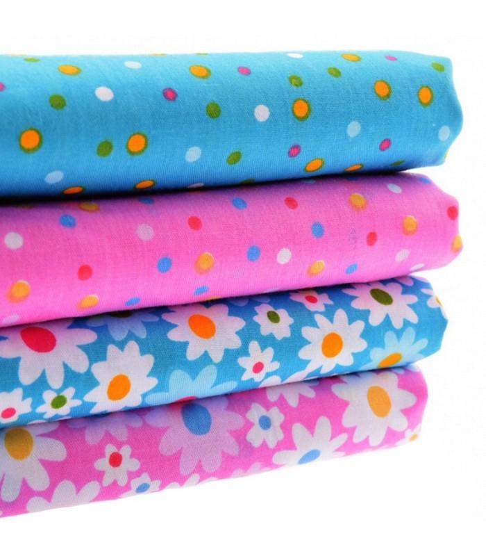 Set de 4 telas coordinadas de flores y lunares costura serie 3 comando craft - Set de costura ...