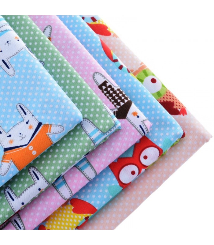 Set de 5 telas buhos y conejos infantiles patchwork costura comando craft - Comprar telas infantiles ...