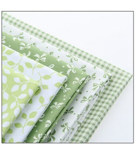 Set de 5 telas verdes hojas y lazos - Patchwork  - Costura
