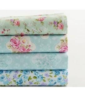 Lote de 4 telas azules románticas  - Patchwork  - Costura