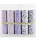5 telas de algodón - 40x50cm - Lila - Hojas - Fat Quarters - Patchwork - Lote
