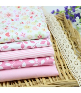 5 telas de algodón - 40x50cm - Rosa - Hojas - Fat Quarters - Patchwork - Lote