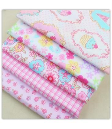5 telas de algodón - 40x50cm - Rosa - Fat Quarters - Patchwork - Set