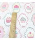 Tela por metros - Motivo Cupcakes y Helados - Costura - Patchwork