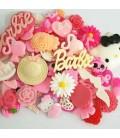 Lote de 100 cabujones o miniaturas - Decoden - Scrapbook -Kawaii - Rosa