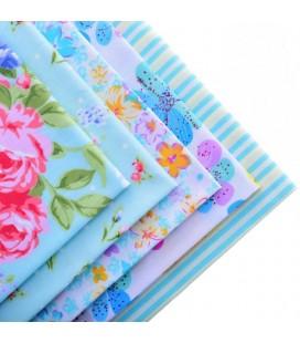 Set de 5 telas Serie Flores  Azul - Patchwork  - Costura