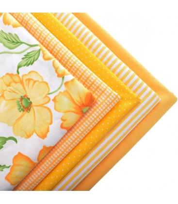 Set de 5 telas Serie Amarilla y Naranja - Patchwork  - Costura