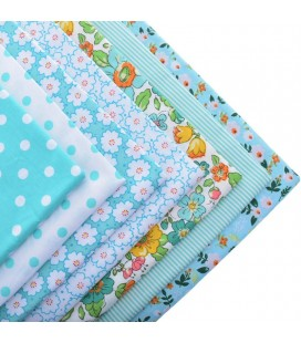 Lote de 7 fat quarters - Telas - Patchwork - Color Azul