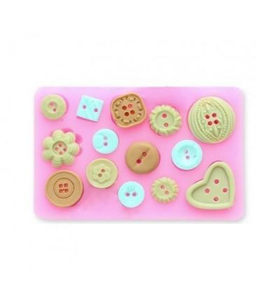 Molde de silicona - Botones 1 - Fondant - Fimo - Sugarcraft - Jabones