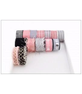 Lote de cintas y lazos - Serie Gris y Rosa - Decoración - Manualidades