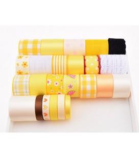 Lote de cintas y lazos - Serie Amarilla 01 - Manualidades - Accesorios Pelo