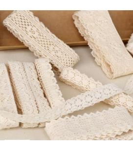 Set de encaje de algodón - Serie Blanco y Beige 01 - Manualidades - Accesorios