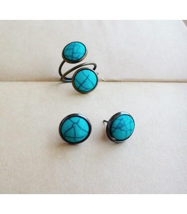 Conjunto de pendientes y anillo - Cabujones - Sortijas - Set de bisutería