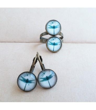 Conjunto de pendientes y anillo - Libélulas - Sortijas - Set de bisutería