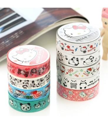Lote de 9 Washi Tape - Cintas adhesivas - Celo japonés - Scrapbooking