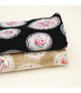 Lote de 2 telas - fat quarters -  con motivos de flores y medallones - Patchwork - Costura