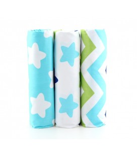 Set de 3 telas de estrellas y rayas - Azul - Far Quarters - Patchwork - Costura