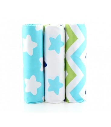 Lote de 3 telas estampadas con motivos de estrellas y rayas