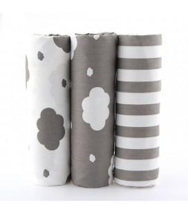 Set de 3 telas de estrellas y rayas  - Gris - Far Quarters - Patchwork - Costura