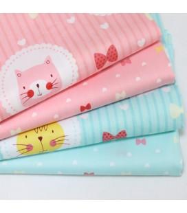Lote de 2 telas infantiles de gatos - Fat Quarters - Costura - Patchwork - Manualidades