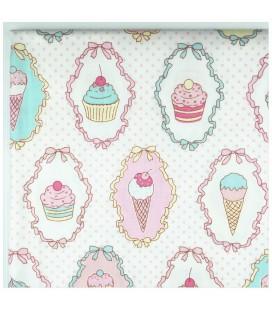 Tela de algodón -  Motivo Cupcakes y Helados - Costura - Patchwork