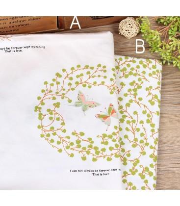 Tela de algodón con motivo de hojas y mariposas - Costura - Patchwork