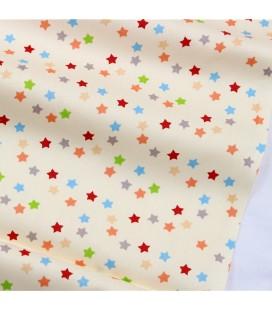 Tela de algodón con motivo de estrellas de colores - Costura - Manualidades