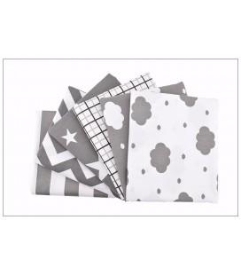 Tela de algodón con diferentes motivos en tonos grises - Costura - Manualidades