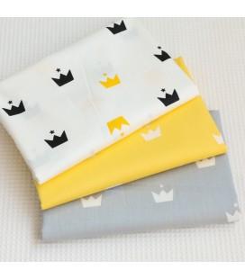 Tela de algodón con motivo de coronas  - Costura - Manualidades