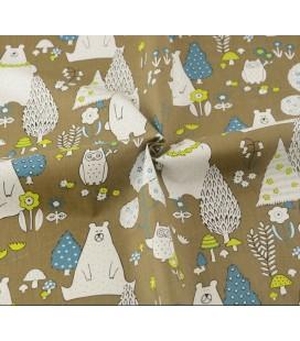 Tela de algodón osos fondo marrón - Costura - Manualidades
