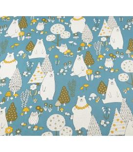 Tela de algodón osos fondo azul - Costura - Manualidades