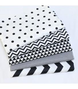 Tela de algodón coordinadas en blanco y negro - Costura - Manualidades