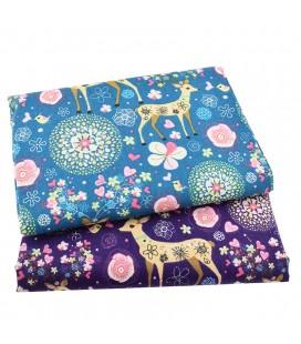 Telas de lino de algodón - Ciervos  - Manualidades - Costura - Patchwork
