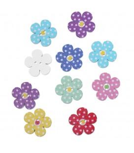 100 Botones de madera con forma de flor - Mod. 1 - Botones Flores