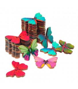 100 Botones de madera con forma de mariposa multicolor - Mod. 1 - Botones Mariposas