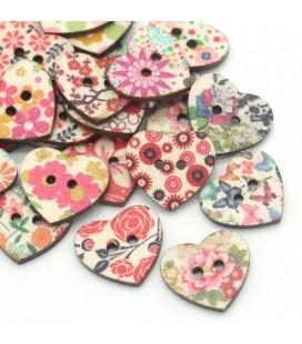50 Botones de madera - Corazon multicolor - Botones Corazones