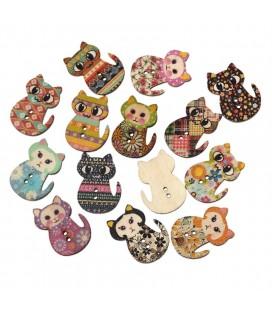 100 Botones de madera con forma gato - Botones Gatos