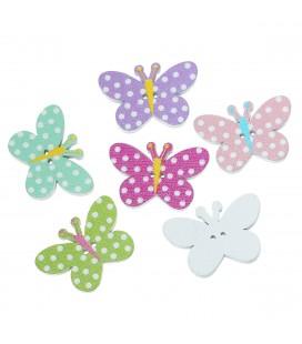100 Botones de madera con forma mariposa Kawaii - Botones mariposas