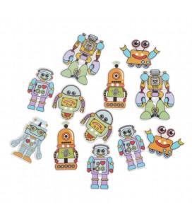 50 Botones de madera - Robot - Botones robots