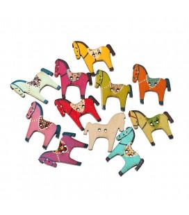 50 Botones de madera con forma de caballos