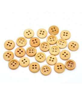 150 Botones de madera redondos - 4 agujeros